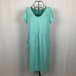 J.Jill cotton knit V-neck dress pockets SP